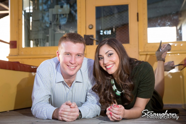 Allison engagement Pearl Brewery on train facing the camera
