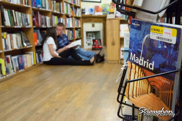 Allison engagement at the bookstore with Madrid book