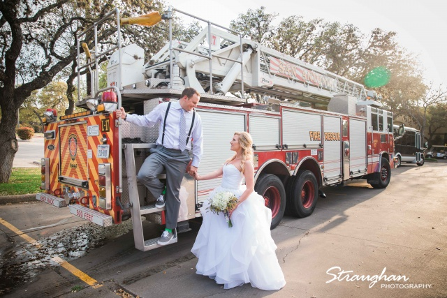 Allison + Steven wedding at the Club at Sonterra entire fire truck