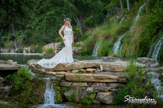 Amy's Bridal shoot at Bridal Veil Falls full dress in front of waterfalls