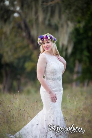 Amy bridal Lodge at Bridal Veil Falls in the grass close up