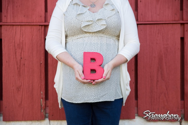 Carol maternity red wall with B