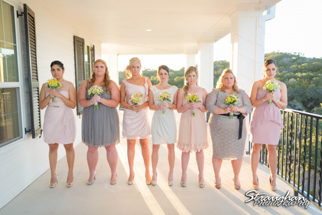 Ashton wedding Kendall Plantation bridesmaids line up