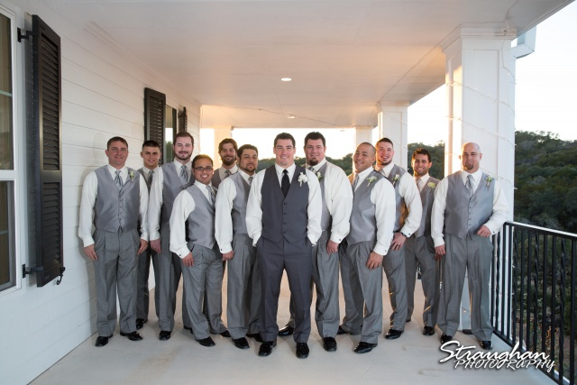 Ashton wedding Kendall Plantation groomsmen line up