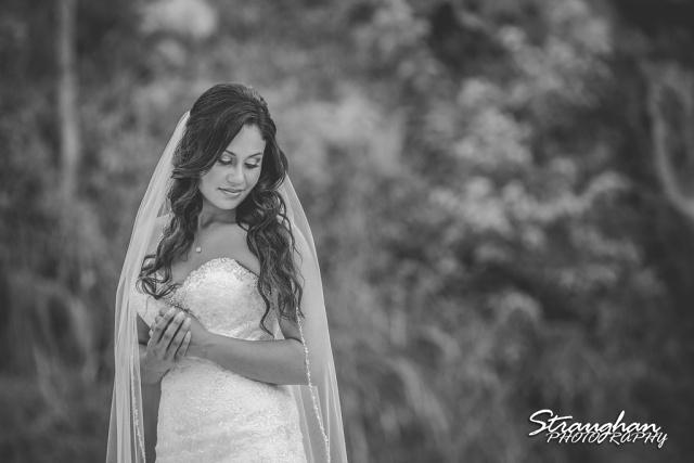 Britny's Bridal the lodge at bridal veil falls close up bw