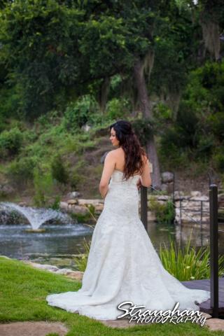 Britny's Bridal the lodge at bridal veil falls back of dress