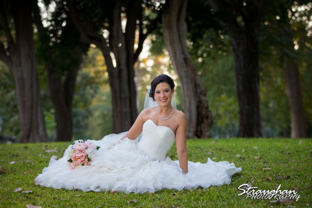 Brittany's Bridal Landa Park sitting on the grass