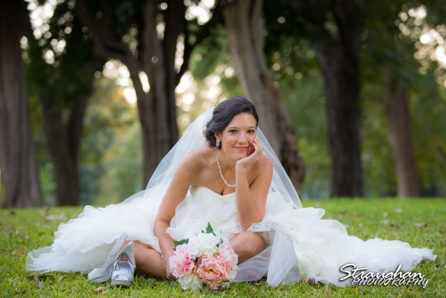 Brittany's Bridal Landa Park chilling in the grass
