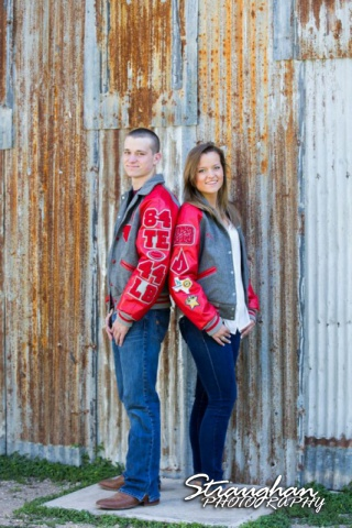 Casey & Colton senior portraits tin wall