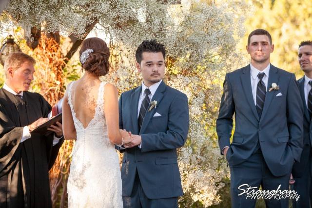 Clarissa wedding Vista West Ranch groom looking