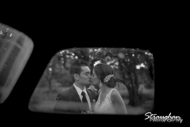 Clarissa wedding Vista West Ranch though truck window