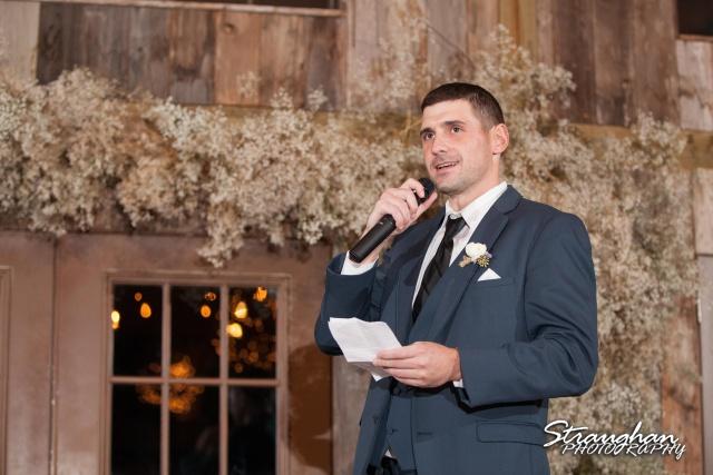 Clarissa wedding Vista West Ranch toasts best man