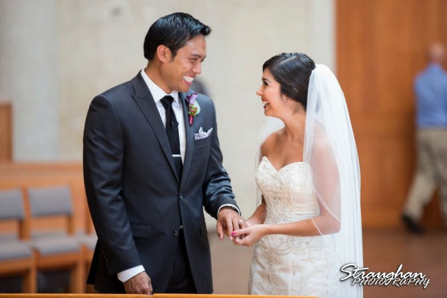 Cristina wedding St. Peters the Apostle Catholic Church Boerne smiling vows