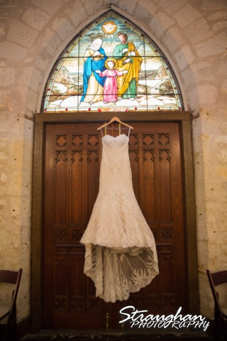 Carly's wedding Southwest School of Art dress hanging