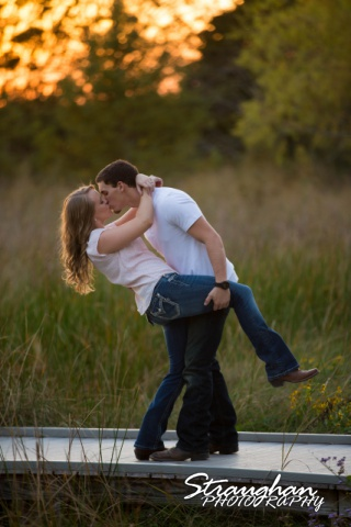 Caitlin engagement Cibolo Natural Area dip in the sunset