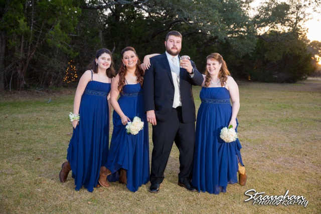 Cody Wedding Los Encinos the groom and the girls