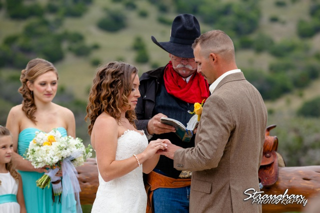 Samantha wedding Happy H Ranch ring exchange