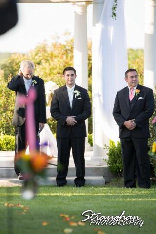 Erin Wedding Gardens of Cranesbury View groom waiting for bride
