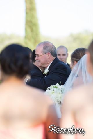 Erin Wedding Gardens of Cranesbury View dad hugging groom