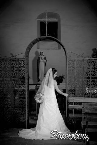 Dora's Bridal Mission San Jose back of dress inside arch