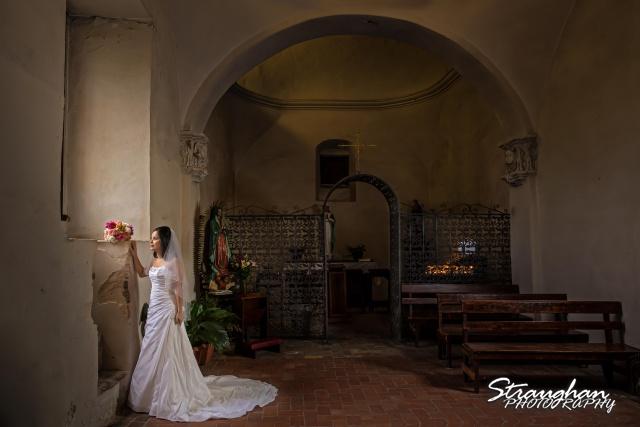 Dora's Bridal Mission San Jose at prayer window