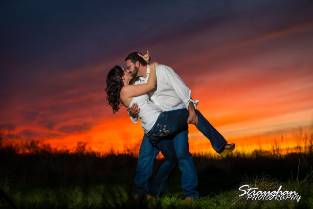 Elana's Engagement Cibolo Natural Area orange sunset dip