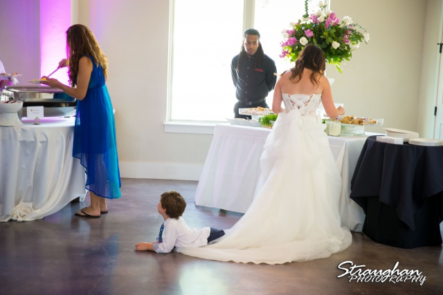 Elana wedding Hidden Falls Remi Ridge brides son on dres