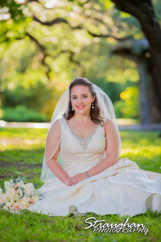 E Murray Bridal sitting Landa Library seated in grass