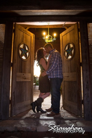 Jackie Engagement Gruene in the doorway color