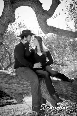 Michelle engagement San Antonio Zoo sittind on tree