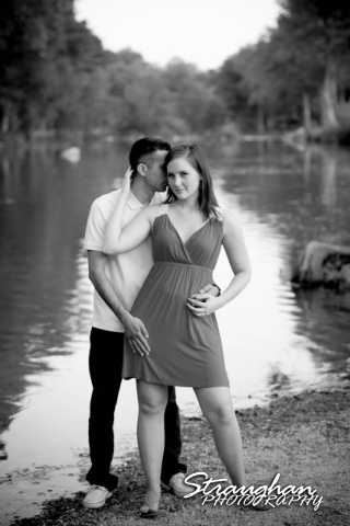 Kristan engagement Gruene black white on the water