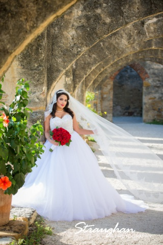 Erika Bridal portrait Mission San Jose left arch