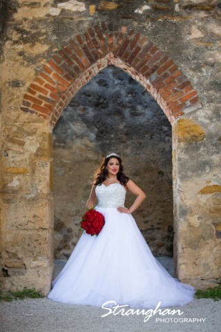 Erika Bridal portrait Mission San Jose doorway