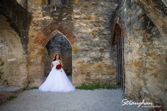 Erika Bridal portrait Mission San Jose doorway landscape