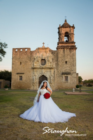 Erika Bridal portrait Mission San Jose mission behind