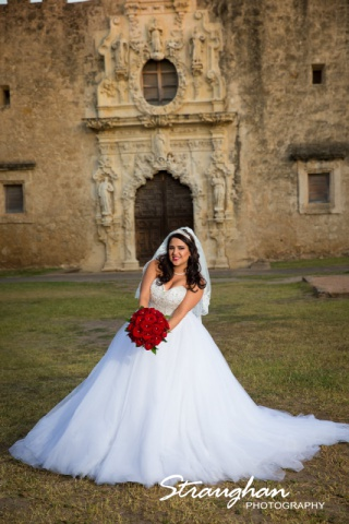 Erika Bridal portrait Mission San Jose fun mission behind
