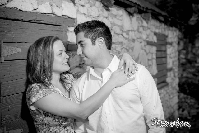 Erin engagement Japanese Tea Gardens San Antonio bw on window