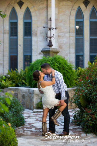 Erika Wes engagement Southwest School of Art boots kiss