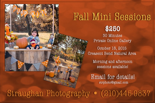 Fall Mini Sessions 2015 on 10/18 at Crescent Bend Nature Area, Schertz, Texas