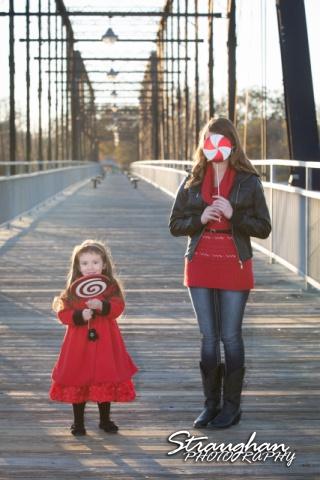 Mayes family portraits faust street Bridge girls lollipops