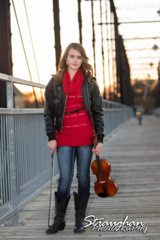 Mayes family portraits faust street Bridge faith with violin