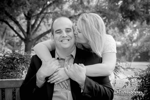Gretchen Engagement UIW campus bw her kssing him