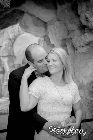 Gretchen Engagement UIW campus bw in tunnel look at ea other