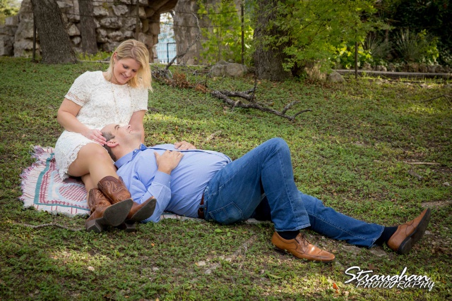 Gretchen Engagement UIW campus laying down