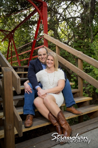 Gretchen Engagement UIW campus siing on bridge
