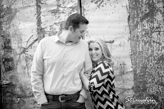 Heather engagement Gruene bw textured doors
