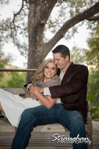 Heather engagement Gruene sitting in tunnel