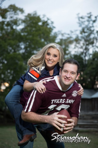 Heather engagement Gruene football piggy back