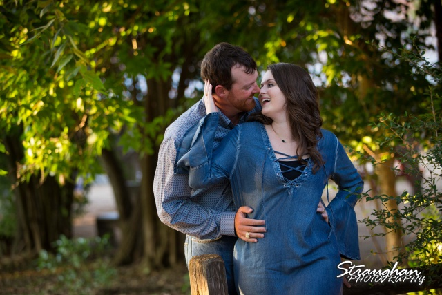 Heather and Wes's engagement session Gruene on the fence