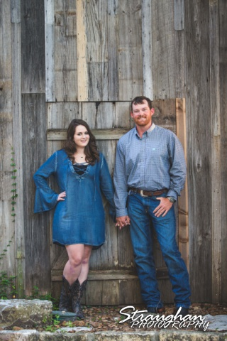 Heather and Wes's engagement session Gruene wooden wall